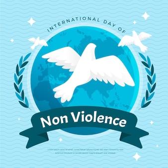 Flat design dia internacional da não-violência pomba