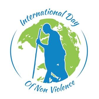 Flat design dia internacional da representação da não violência