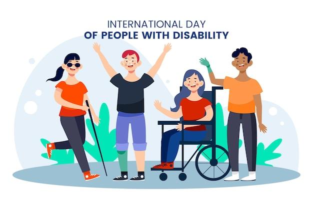 Flat design dia internacional das pessoas com deficiência