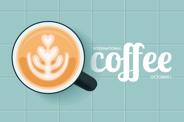 Flat design dia internacional do café