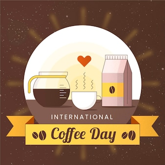 Flat design dia internacional do café