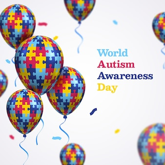 Flat design dia mundial da conscientização do autismo