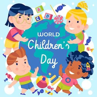 Flat design dia mundial da criança
