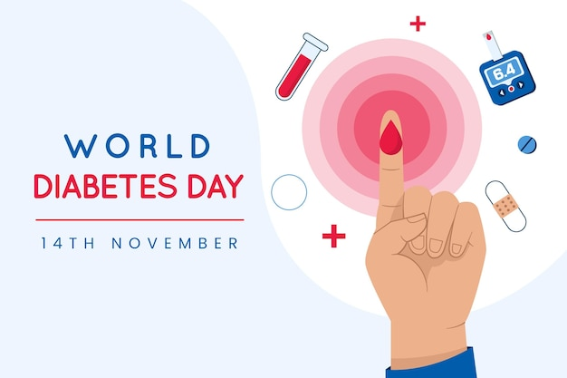 Flat design dia mundial da diabetes