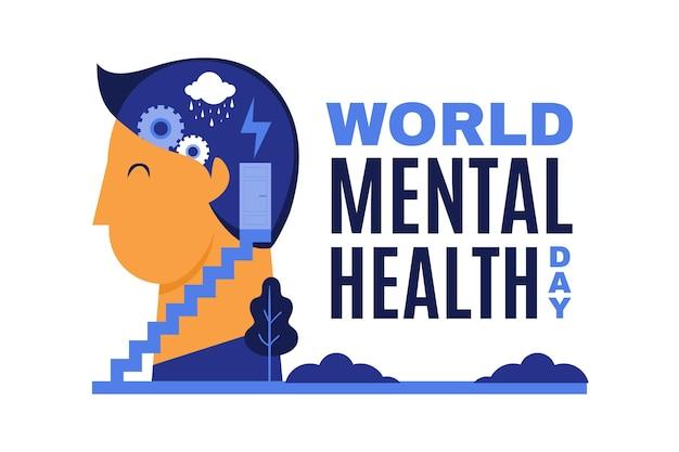 Flat design dia mundial da saúde mental com o homem