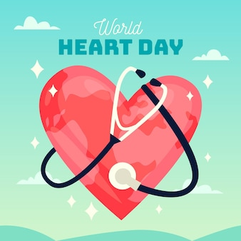 Flat design dia mundial do coração com estetoscópio