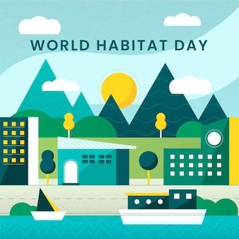 Flat design dia mundial do habitat
