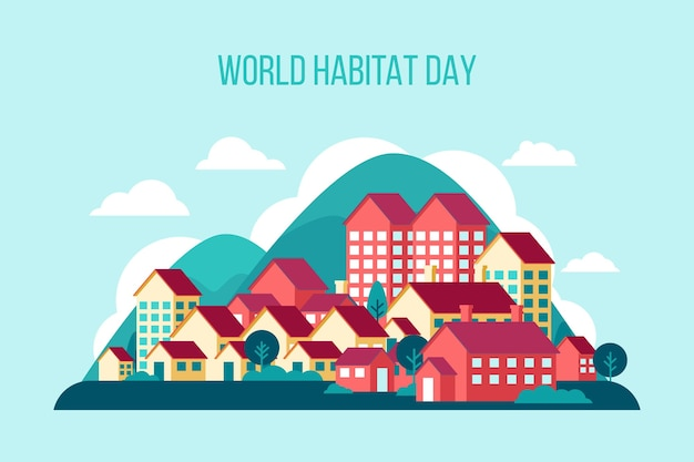 Flat design dia mundial do habitat
