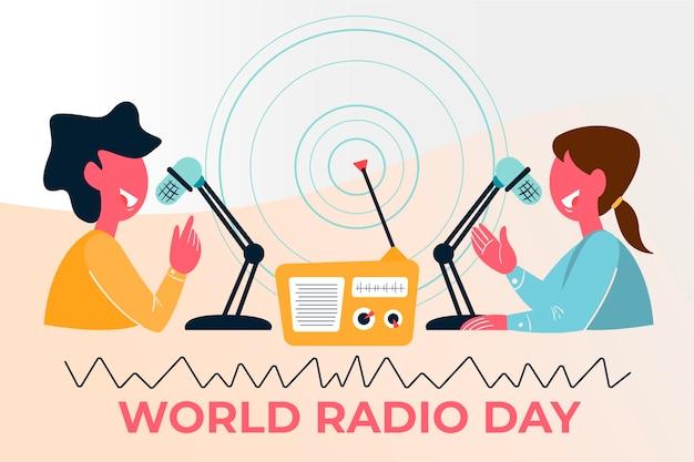 Flat design dia mundial do rádio