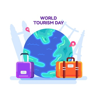 Flat design dia mundial do turismo