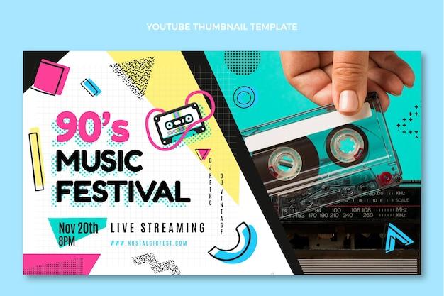 Flat design em miniatura do youtube do festival de música dos anos 90