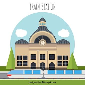 Flat design estação de trem