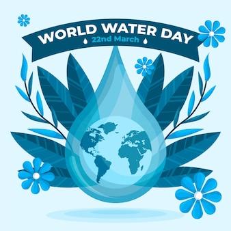 Flat design evento do dia mundial da água