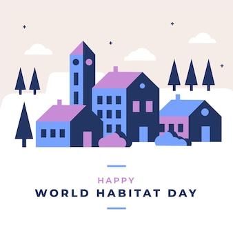 Flat design evento do dia mundial do habitat