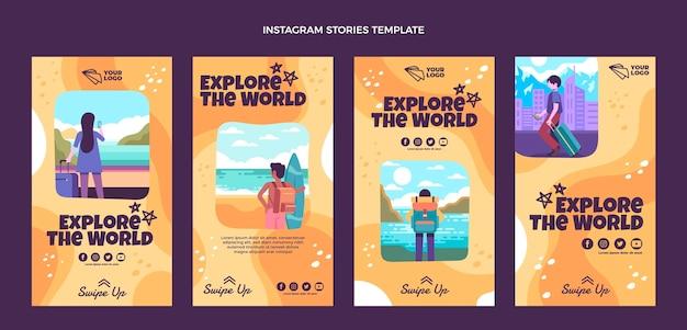 Flat design explore as histórias mundiais do instagram
