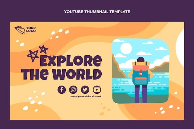 Flat design explore o mundo em miniatura do youtube