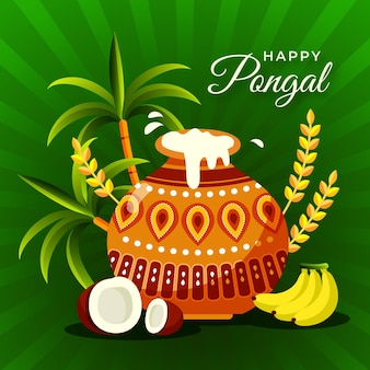 Flat design festival pongal