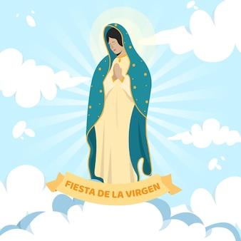 Flat design fiesta de la virgen