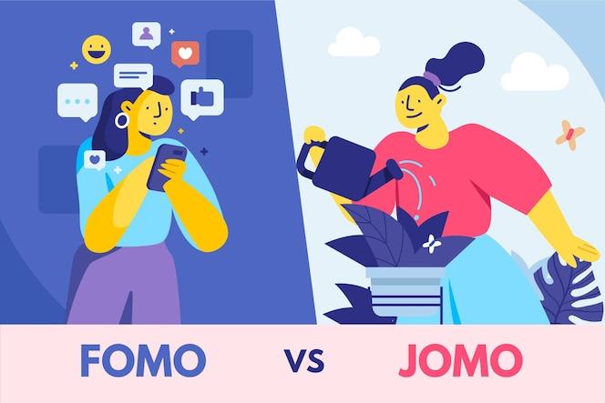 Flat design fomo vs jomo