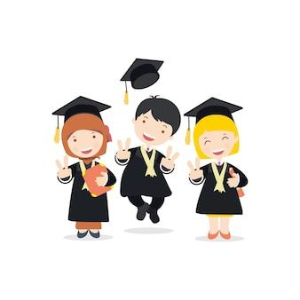 Flat design friendship graduates character cenas vector