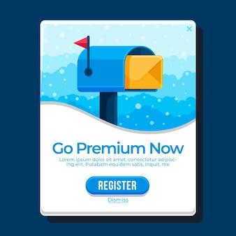 Flat design go premium now pop up