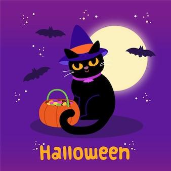 Flat design halloween gato