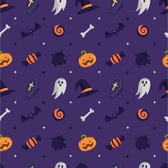 Flat design halloween pattern