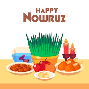 Flat design happy nowruz comemorando
