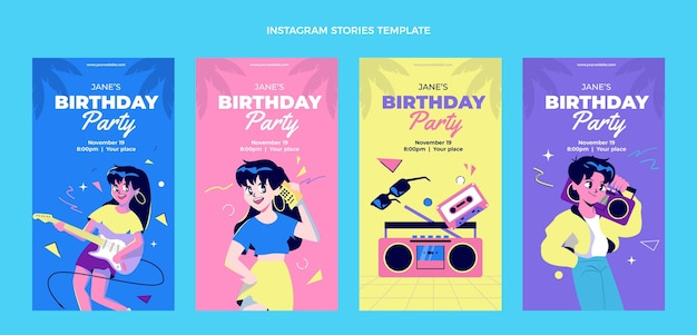 Flat design histórias nostálgicas de aniversário dos anos 90
