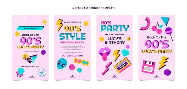 Flat design histórias nostálgicas do instagram do aniversário dos anos 90