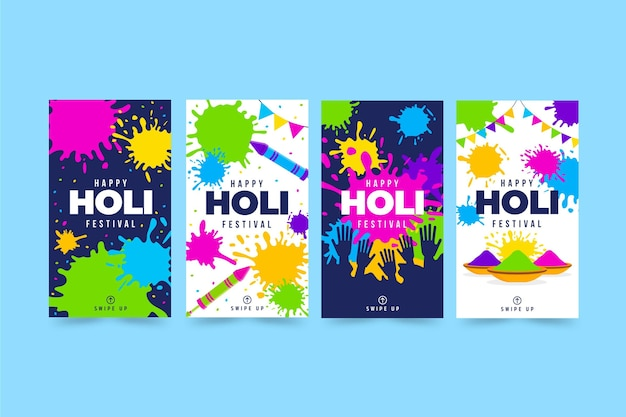 Flat design holi festival instagram stories