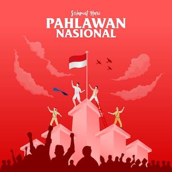 Flat design ilustração do dia dos heróis em pahlawan
