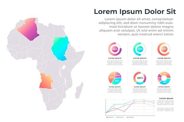 Flat design infográfico do mapa da áfrica