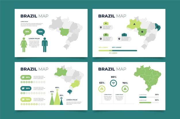 Flat design infográfico do mapa do brasil