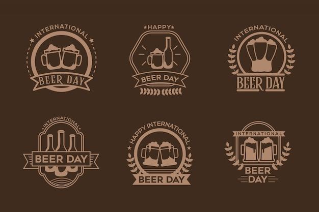 Flat design international beer day emblemas