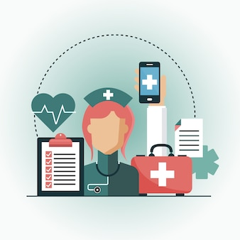 Flat design médico e farmácia app. conceito de cuidados de saúde
