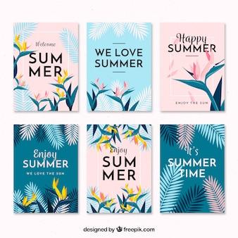 Flat design moderna coleção de cartões de verão