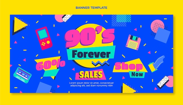 Flat design nostálgico banner de venda de aniversário dos anos 90