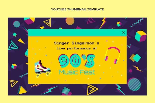 Flat design nostálgico festival de música em miniatura do youtube