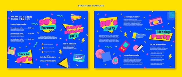 Flat design nostálgico folheto de aniversário dos anos 90
