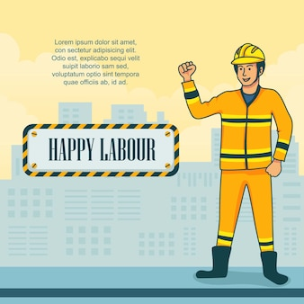 Flat design para comemorar o dia internacional do trabalho.