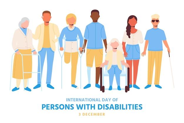 Flat design pessoas com deficiência