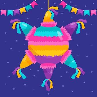 Flat design posada piñata