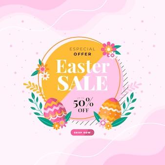 Flat design promoção de venda de páscoa
