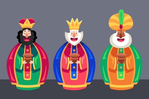 Flat design reyes magos dia