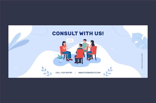 Flat design saúde mental capa do facebook