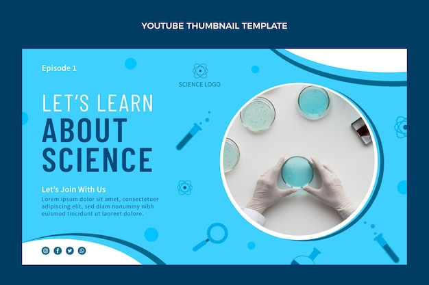 Flat design science youtube thumbnail template