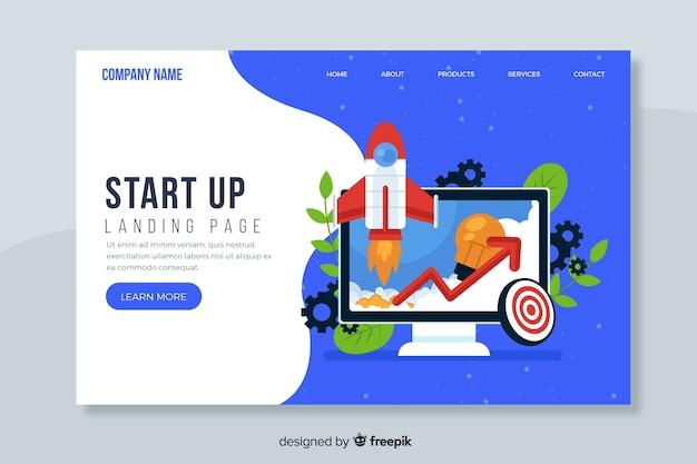 Flat design start up landing page