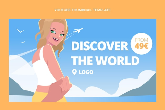 Flat design travel youtube thumbnail
