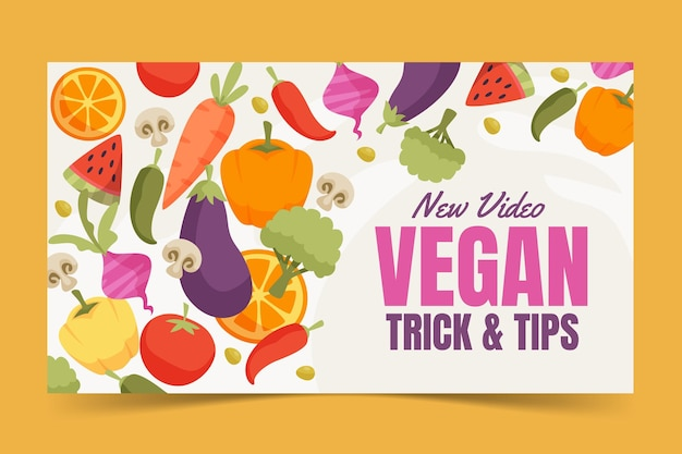 Flat design vegan dicas youtube thumbnail